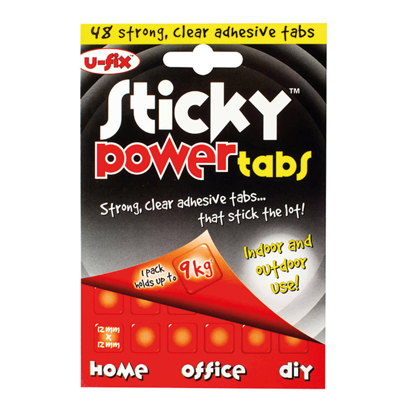 U-Fix Sticky Power Tabs - 48 x strong adhesive tabs 12mm x 12mm - Use instead of nails and screws