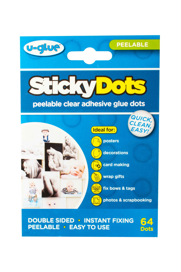 Sticky Dots - 64 x Peelable Glue Dots on Perforated Sheets
