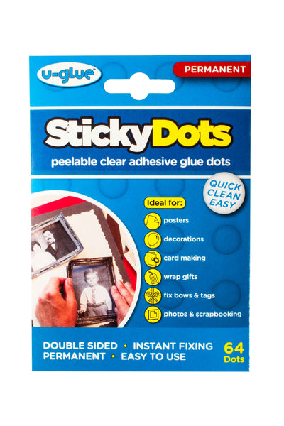 Sticky Dots - 64 x Permanent Glue Dots on Perforated Sheets