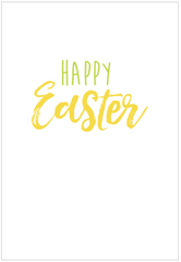 Happy Easter writing on greeting card