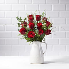 Wide shot of 12 Red Roses in a vase - luxury bouquet of flowers - red rose