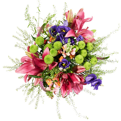 Bohemia Letterbox Flowers - Red Lily & Purple Lisianthus - Letterbox Bouquets - Postabloom Flower delivery app