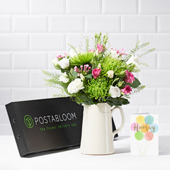 Cloud 9 Letterbox Flowers - Pink Roses & Chrysanthemum - Letterbox Bouquets - Postabloom Flower delivery app