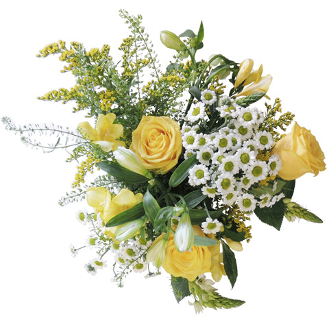 Manhattan Letterbox Flowers - Yellow Roses & Alstroemeria
