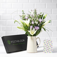 Marvellous Letterbox Flowers - White Lily & Lisianthus - Letterbox Bouquets - Postabloom Flower delivery app