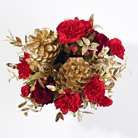 Wide shot of All That Glitters - Christmas plant delivery - red roses, gold plant