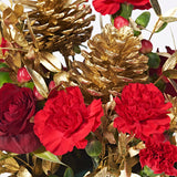 Close up of All That Glitters - Christmas plant delivery - red roses, gold plant