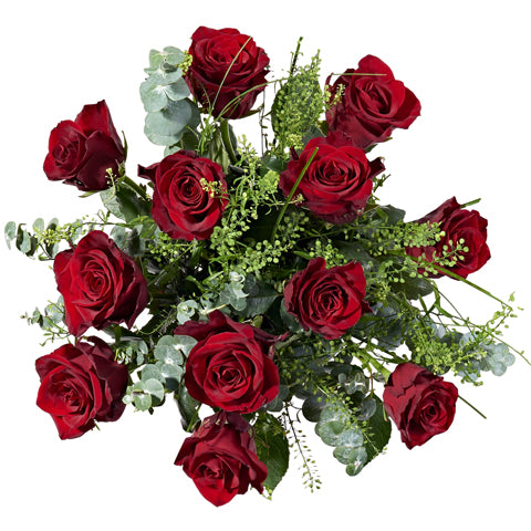 12 Red Roses Flower Delivery - Hand-tied Bouquets - Postabloom Flower delivery app