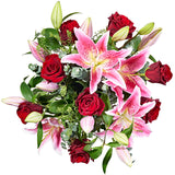 Paradise Flower Delivery - Red Roses & Pink Lily - Hand-tied Bouquets - Postabloom Flower delivery app