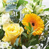 Close up of Rise & Shine - luxury bouquet of flowers - yellow roses and yellow gerberas