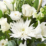 Close up of Snowflakes - luxury bouquet of flowers - white lilies, white roses
