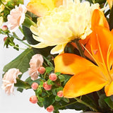 Close ups of Sunrise - luxury bouquet of flowers - orange lilies and yellow chrysanthemums
