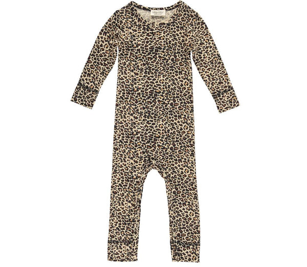 MARMAR COPENHAGEN Baby Sleepsuit in Leopard Print Brown Stylish Modern Danish Scandinavian Baby Sleepwear