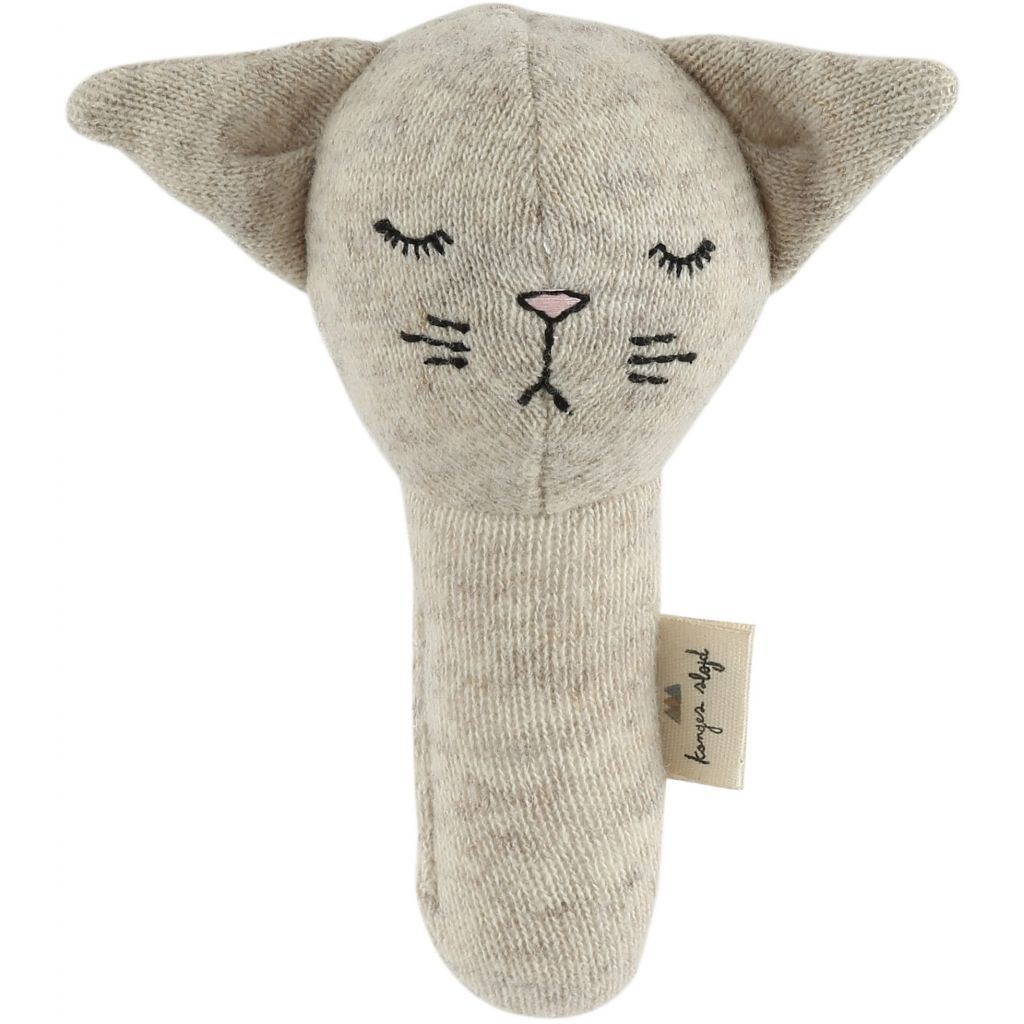 Konges Slojd hand rattle cat in camel melange lambswool new baby toy Scandinavian style