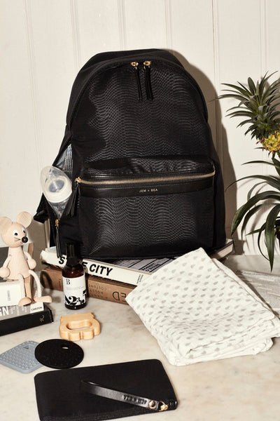 JEM + BEA Jamie backpack python black. Modern stylish changing bags and accessories. UK stockist. Free shipping. Discount when subscribe for newsletter.