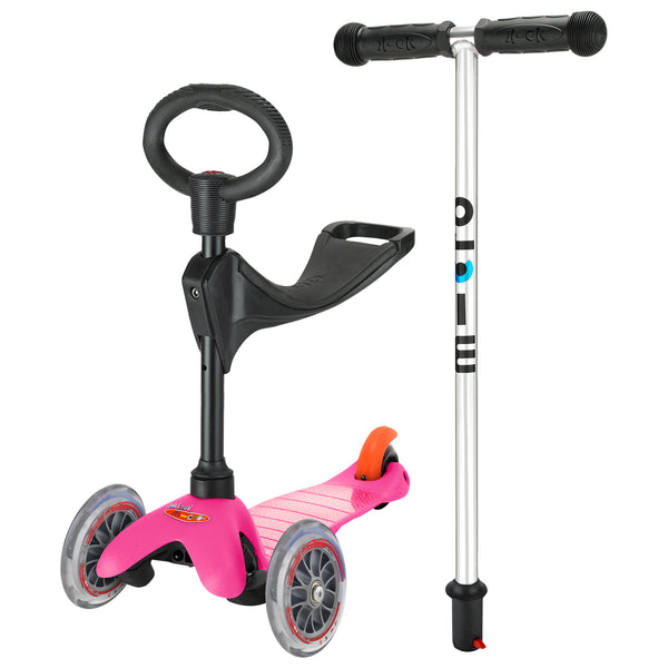 Pink 3in1 classic scooter by Micro Scooters suitable from 12 months to 5 years. Free delivery. Discount for newsletter subscribers.