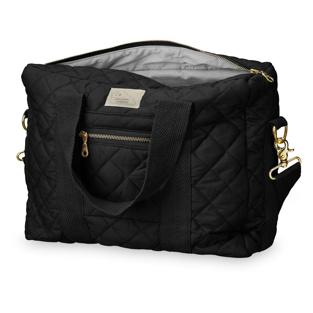Cam Cam Copenhagen black organic cotton quilted changing diaper bag. Loved by Pippa Middleton