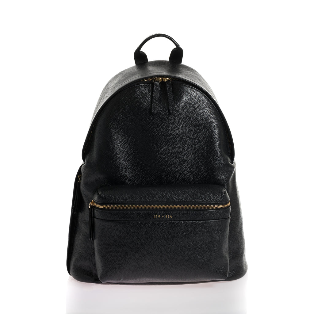 JEM + BEA Jamie backpack Leather black. Modern stylish changing bags and accessories. UK stockist. Free shipping. Discount when subscribe for newsletter.