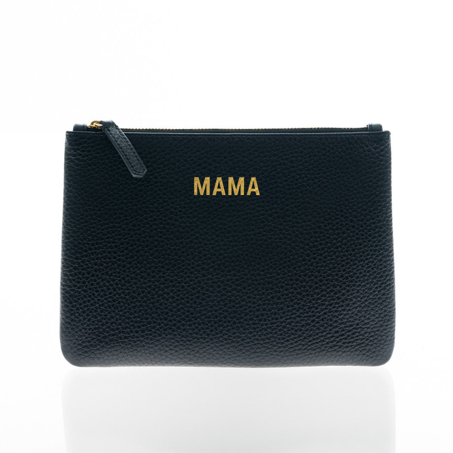 JEM + BEA Mama clutch black leather. Modern stylish changing bags and accessories. UK stockist. Free shipping. Discount when subscribe for newsletter.