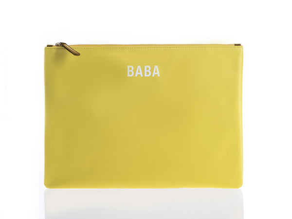 JEM + BEA Baba Clutch Yellow. Modern stylish changing bags and accessories. UK stockist. Free shipping. Discount when subscribe for newsletter.