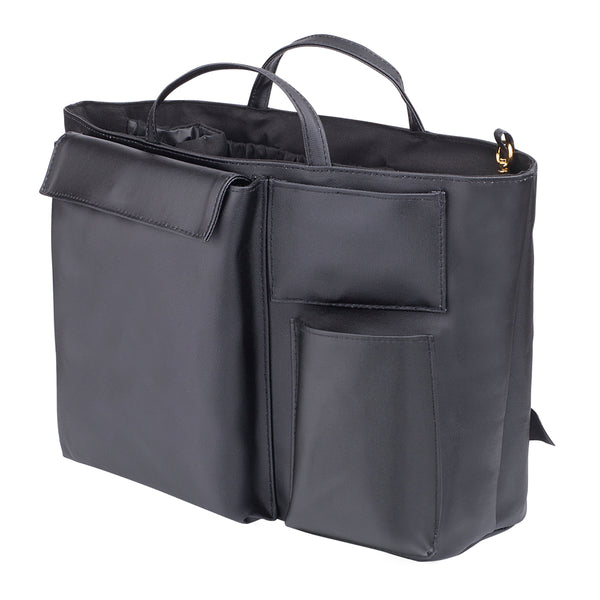 Compact Black Insert by The Nappy Society. Inserts allow modern mamas to turn any tote bag into a changing/diaper bag. Fits inside medium and large totes/handbags. Available in two colours and two sizes. Free UK shipping on all orders over £49. 10% discount when you subscribe to our newsletter.