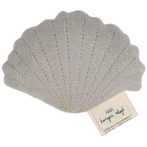 KONGES SLØJD - Soft Toy/Rattle - Clam Shell - Grey Melange