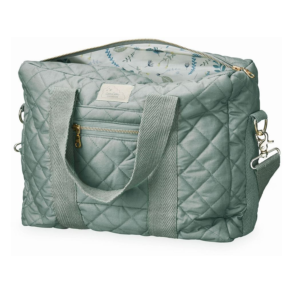 Cam Cam Copenhagen misty green organic cotton quilted changing diaper bag.