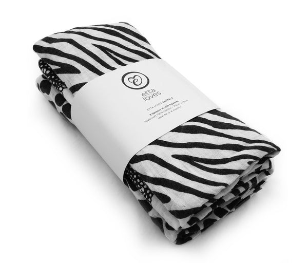 ETTA LOVES Pack of Three Monochrome Black and White Sensory Muslin Squares 100% Cotton Stylish Modern Design