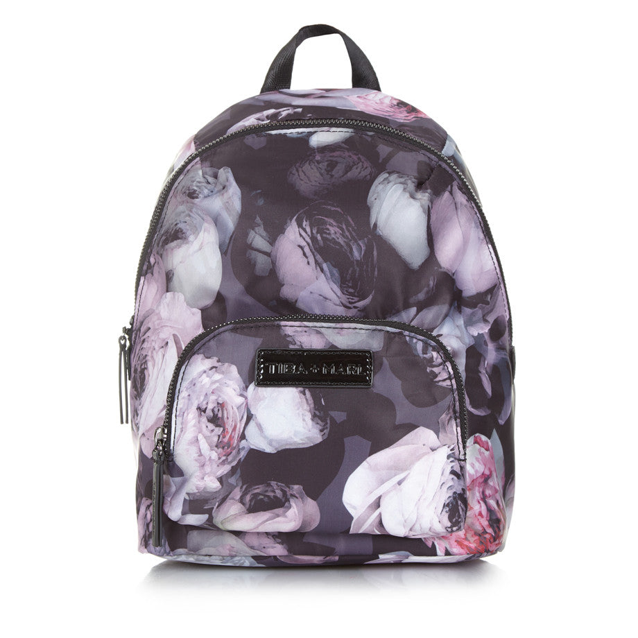 Tiba + Marl - stylish, unisex changing and weekend bags for modern parents - Mini Elwood kids backpack goth floral
