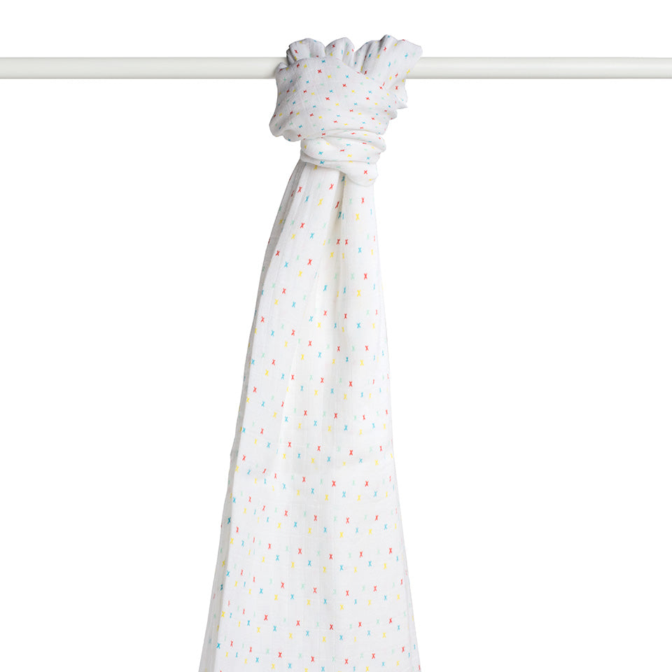 ca8c7e8ffe0e FROM BABIES WITH LOVE - Muslin Swaddle - First Kisses Multi