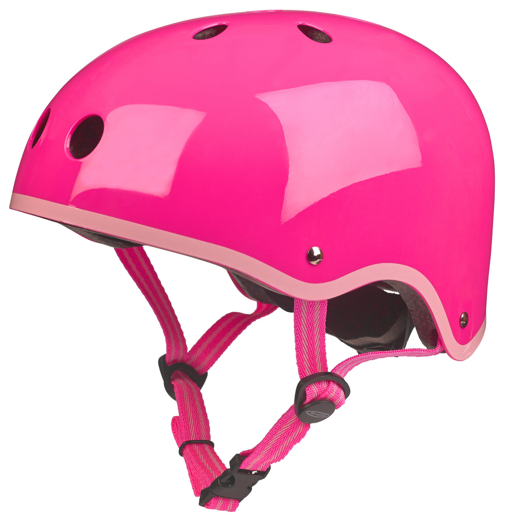 Neon Pink Gloss Micro Helmet by Micro Scooters to protect whilst on scooting adventures. Free shipping. Discount for newsletter subscribers.