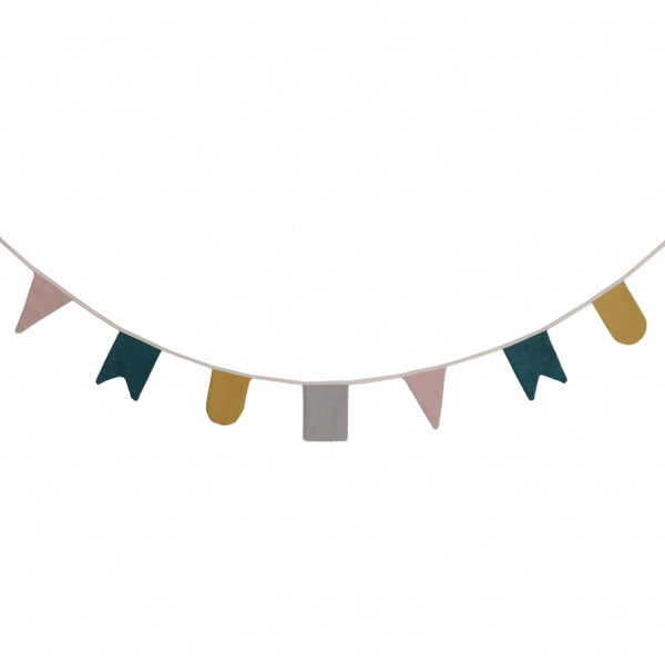 ROOMMATE - Hip Hip Hurrah Bunting Flags - Grey, Yellow, Blue and Pink