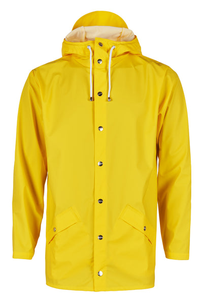 Stylish modern Scandinavian rainwear by Danish brand RAINS. Rains Jacket in Yellow.  Raincoat rain jacket.