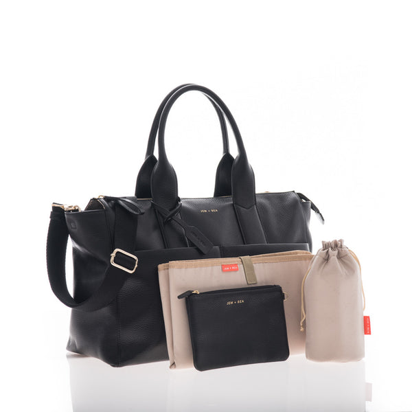 JEM + BEA Jemima black. Modern stylish changing bags and accessories. UK stockist. Free shipping. Discount when subscribe for newsletter.