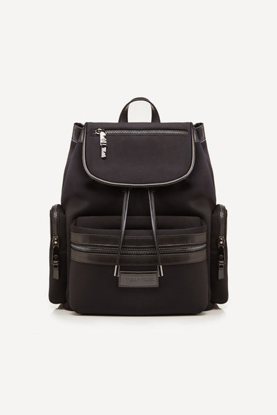 Tiba + Marl - stylish, unisex changing and weekend bags for modern parents - Kaspar Knapsack black scuba neoprene