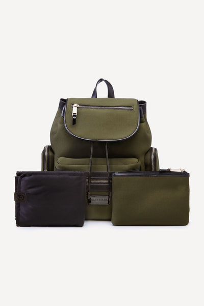 Tiba + Marl - stylish, unisex changing and weekend bags for modern parents - Kaspar Knapsack Khaki Green
