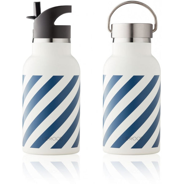 LIEWOOD - Anker Water Bottle - Stripe: Navy/Creme de la Creme