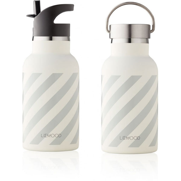 LIEWOOD - Anker Water Bottle - Stripe: Dumbo Grey/Creme de la Creme