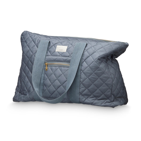 Beautiful charcoal organic cotton quilted weekend bag by Cam Cam Copenhagen