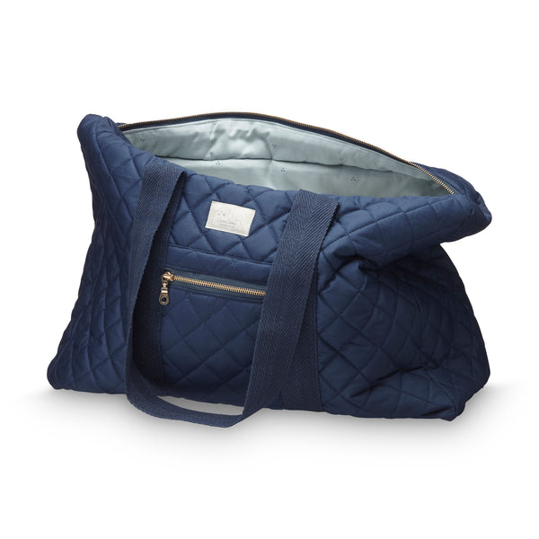 Beautiful navy organic cotton quilted weekend bag by Cam Cam Copenhagen