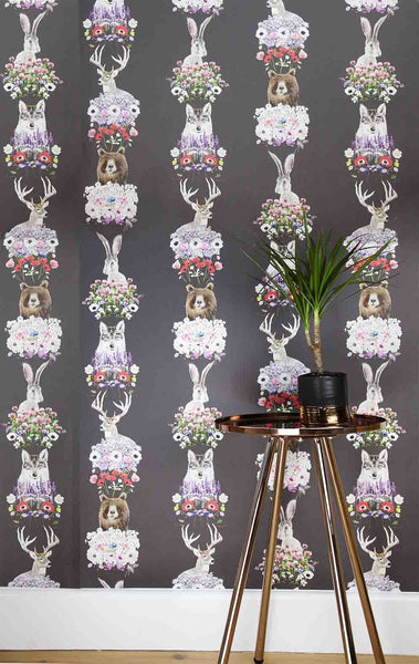 WILD HEARTS WONDER - Wallpaper - Nordic Flower Scandi - Charcoal