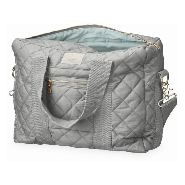 Cam Cam Copenhagen grey organic cotton quilted changing diaper bag.