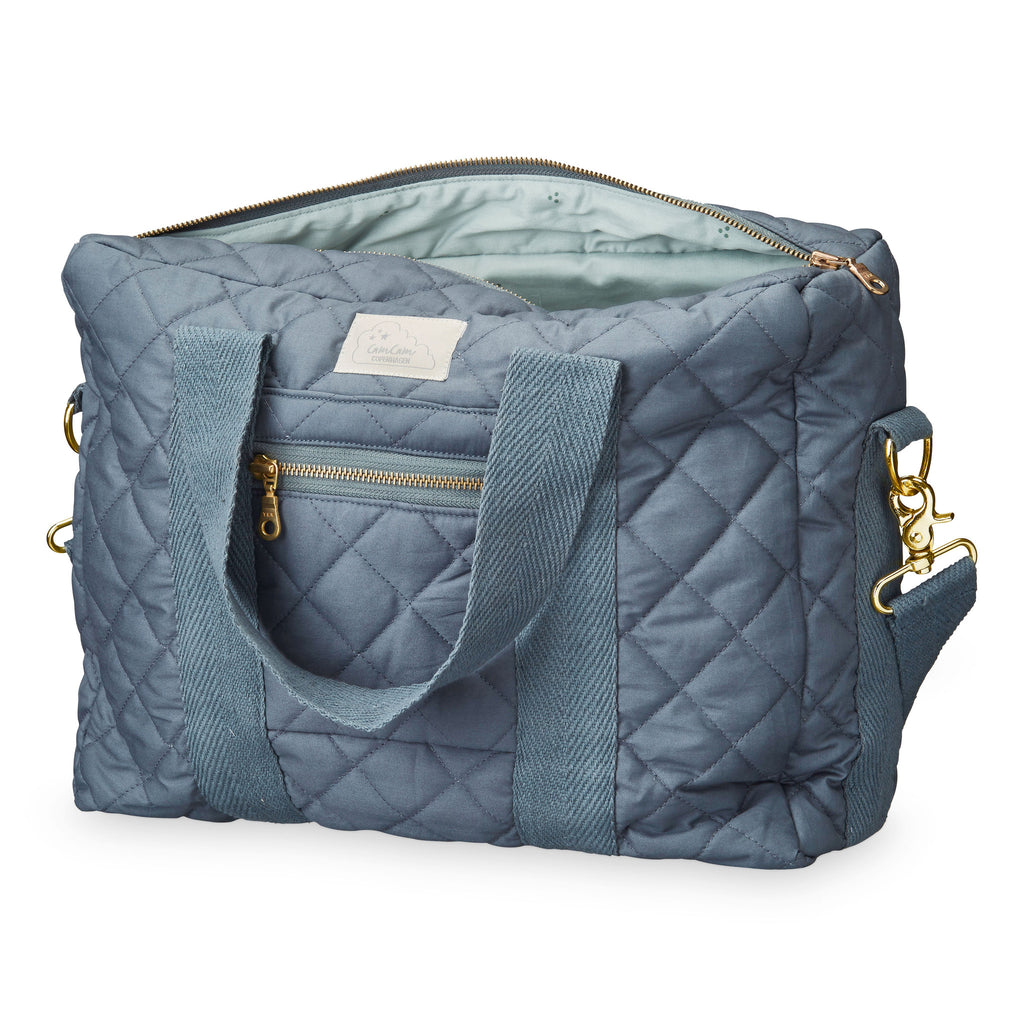 Cam Cam Copenhagen charcoal organic cotton quilted changing diaper bag. Loved by Pippa Middleton