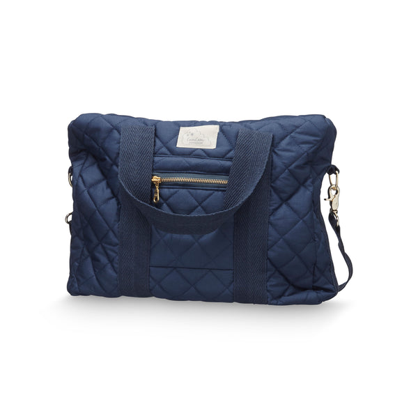 Cam Cam Copenhagen navy organic cotton quilted changing diaper bag.