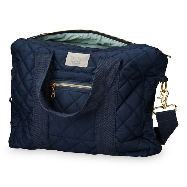 Cam Cam Copenhagen navy organic cotton quilted changing diaper bag. Loved by Pippa Middleton
