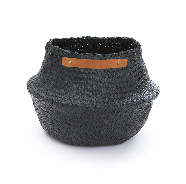 OLLI ELLA Belly Basket (large) - Black with leather handles
