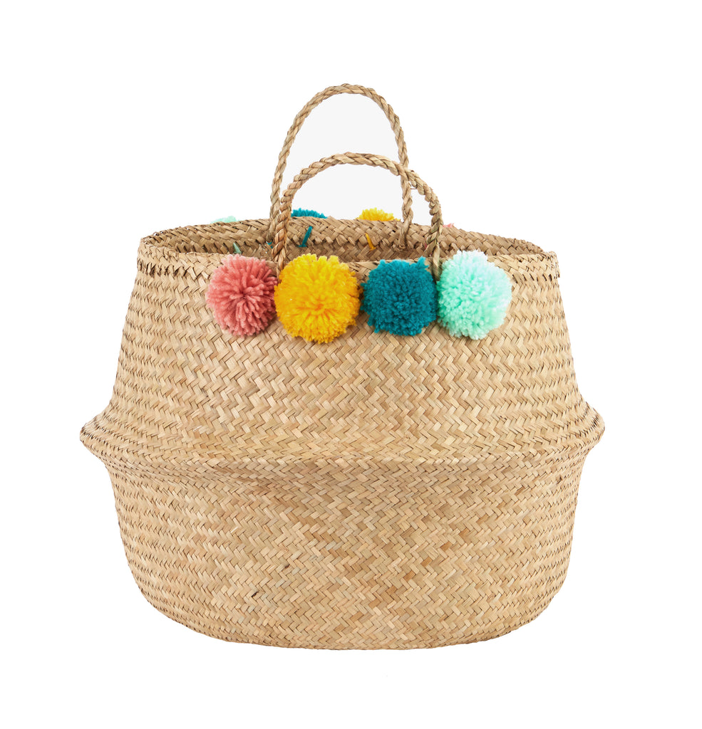 OLLI ELLA - Belly Basket (Large) - Natural with pom poms