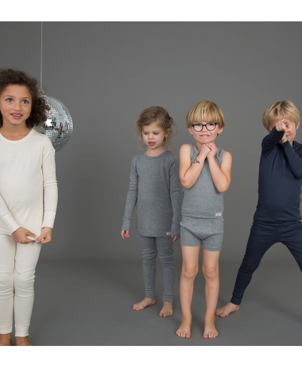 MARMAR COPENHAGEN Mini PJs Pyjamas in Pale Grey Melange Stylish Modern Danish Scandinavian Kids Sleepwear