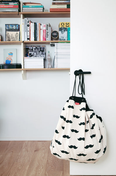 PLAY & GO Mr Moustache Black and White Monochrome Toy Storage Bag and Play Mat Modern Stylish Fun Interiors