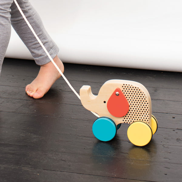 PETIT COLLAGE - Jumping Jumbo Elephant Wood Pull Along Toy